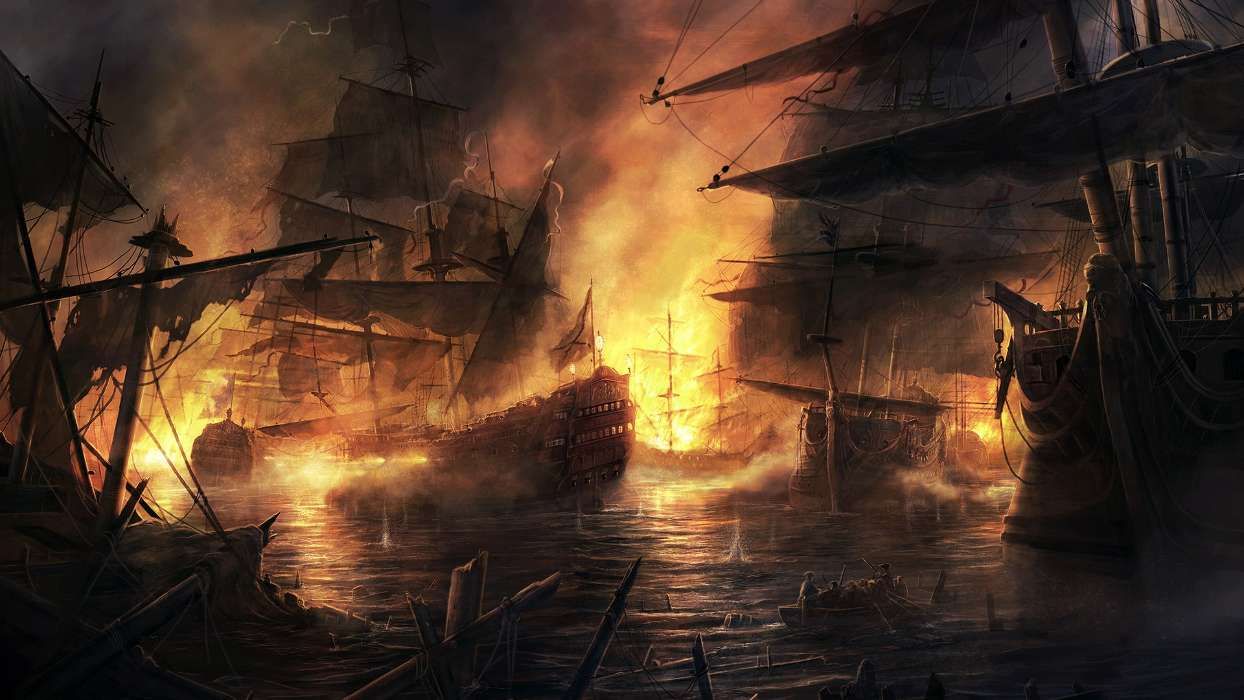 Water, Fantasy, Art, Ships, Sea, Fire