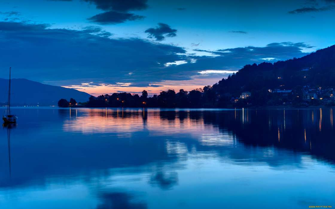 Landscape, Water, Night, Lakes